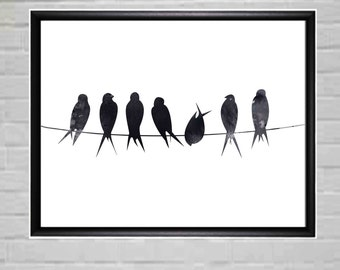 Birds on Wire Black and White Wall Art Minimalist Poster Printables Printable Wall Art Printable Wall Decor Printable Digital File DIY Print