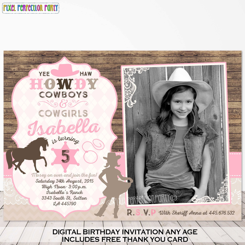 Cowgirl Invitation Cowgirl Birthday Invitation Vintage Cowgirl – Cowgirl Birthday Invitation
