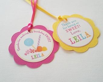Flower Birthday Tags - Candy Tags - Girls Birthday Tags - Pastel Birthday Tags - Set of 10 Tags - Hootsie