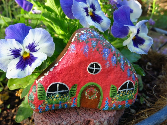 Painted Fairy Garden Cottage Rock Miniature Stone House