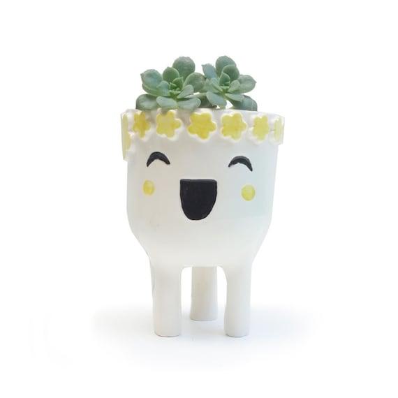 Laughing Lady Planter Ceramic Face Planter By Minkymooceramics