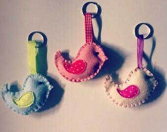 Key chain,key case,keyholder,key tag,key ring,felt,bird,birds,pink,blue,cream,portachiavi, feltro,uccellino,uccellini,rosa,azzurro,crema