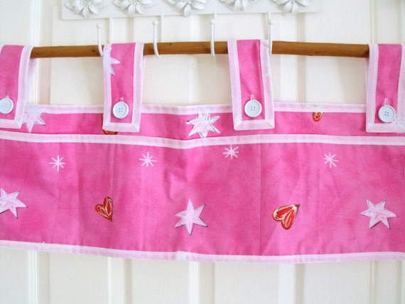 """bunk bed caddy, rail organizer, cot caddy, bed tidy, bunk bed pockets, pink fabric, 30"""" w x 10""""d"""