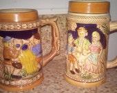 Vtg German styke Stoneware Beer Steins Mugs,from Japan,with German style,Beer steins,vintage beer colonial time Stein mugs,tall Stein  mugs