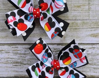 Disney Epcot-Themed Hair Bows, Black Polka (Set of 2) - Mickey Epcot Pigtail Hair Bows