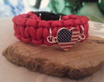 Hand made Red Patriotic Paracord bracelet, 4th of July, Survival cord