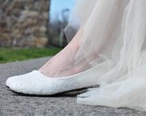 Wedding shoes Lace wedding shoes Lace shoes white flats white flat shoes bridal shoes lace flat shoes white shoes low heels custom shoes