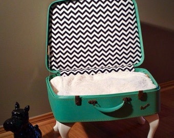 Vintage Suitcase Pet Bed - Made to Order.