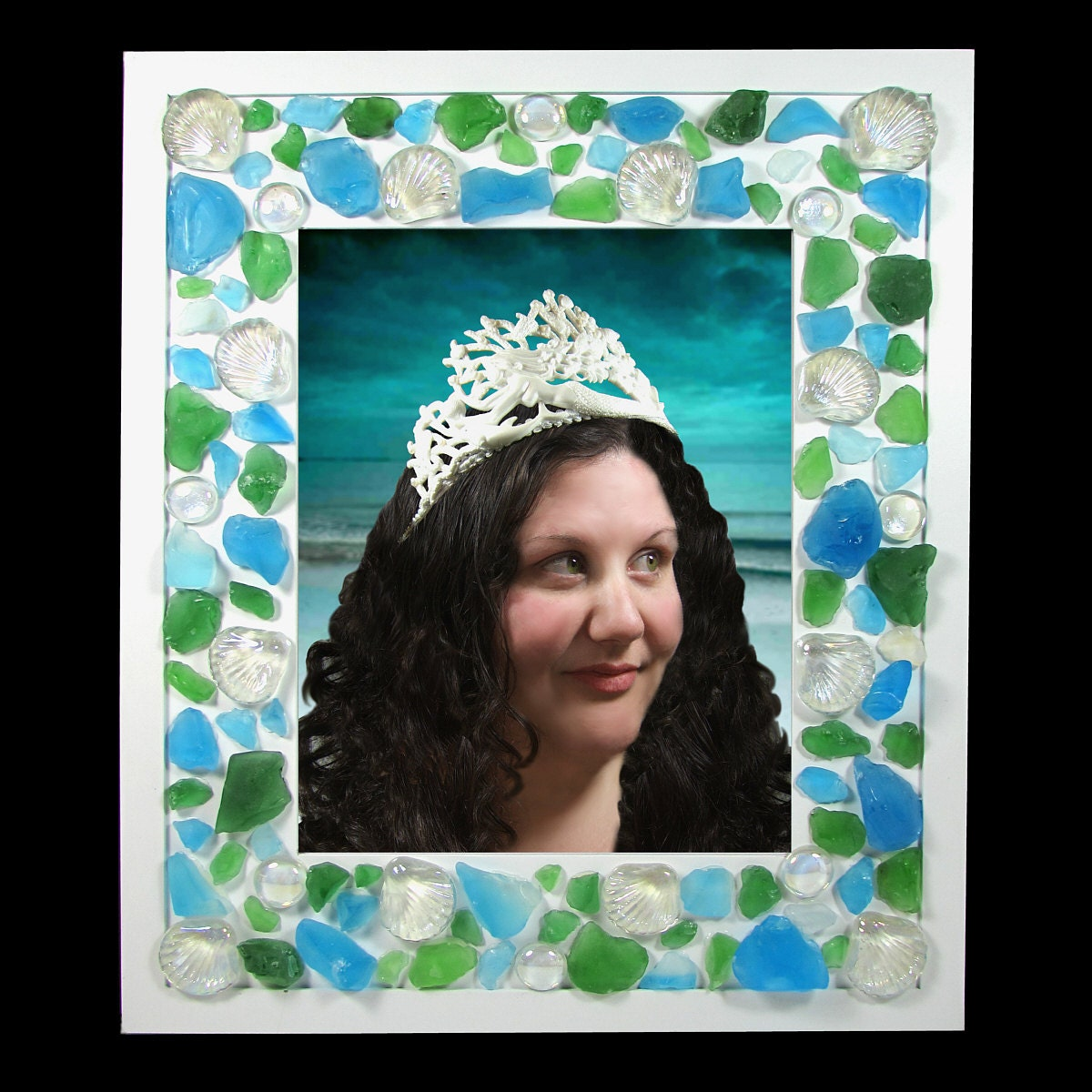 mermaid sea glass picture photo frame 8x10 or 5x7