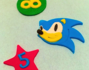 Sonic the Hedgehog Fondant Cupcake Toppers