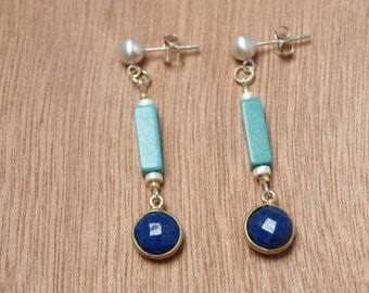 Sterling Silver, Gold Vermeil, Turquoise and Lapis Lazuli Earrings