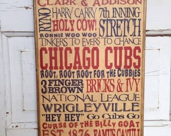 Chicago Cubs Sign On Wood, Gift For Dad, Cubs Baseball Sign, Chicago Cubs Decor, Boys Room Decor, Chicago Cubs Baseball Art, Art For Guys