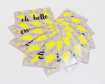 Hello postcard, Yellow floral card - Set of 10