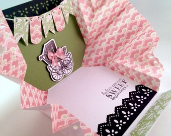 Pink & green popup Baby card