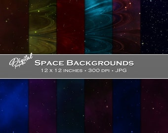 Starry Night Space Backgrounds - Digital Scrapbook Papers - 12 sheets, 12x12, CU OK - Instant Download
