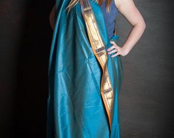 Lightweight blue and gold sari silk