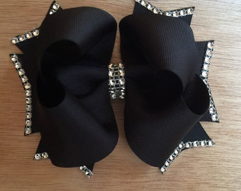 Black Twisted Boutique Bling Bow - Black Bling Bow - Black Twisted Boutique Bow - Black Boutique Bow - Black Bow - Black Bling Bow