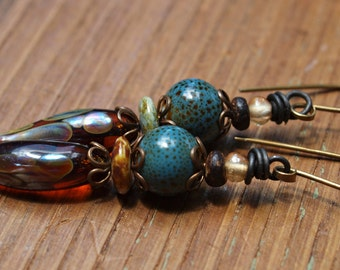 Handmade earrings, Dangle Earrings, Earth tones, Artisan lamp work headpins, Ceramic Beads,