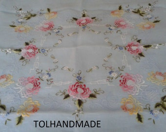 Vintage hand embriodery organdy/cotton table cloth, 54 inch x 54 inch square
