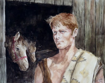 """Watercolor Painting """"At The Barn"""" by artist Walt Carter"""