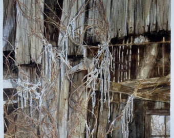"Watercolor Painting ""Icicles"" by artist Walt Carter"