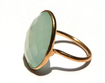 Aqua Chalcedony Ring - 18k Gold Vermeil Ring - Sterling Silver Ring - Bezel Set Ring - 21x16mm Oval Cut Gemstone Ring - Gift For Her