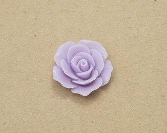 Rose Flower Resin Cabochon Flower Cabochon - Light Purple Color - 4 Pieces-[AD0001]-LIGHTPURPLE