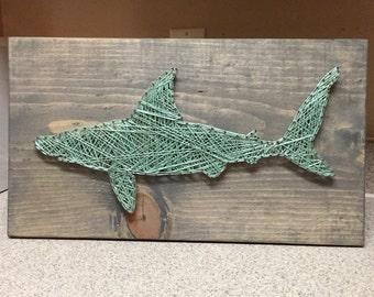 MADE TO ORDER - Shark String Art Sign