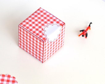 printable gingham gift box - instant download - Christmas gift box - commercial use allowed - red white plaid box - with scalloped gift tags