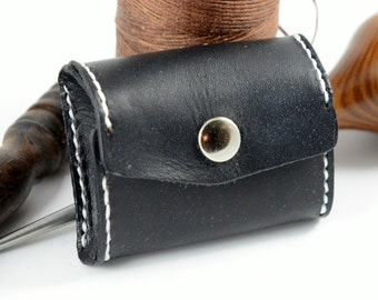 Graduation Gift, Pocket Leather Coin Purse / Pouch - Black w/ White Stitching - Hand-made, hand stitched - L1-001-0014