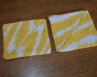 Double Thick Cotton Crochet Pot Holder - Daisy Ombre