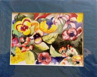 Pansies Watercolor Print Matted