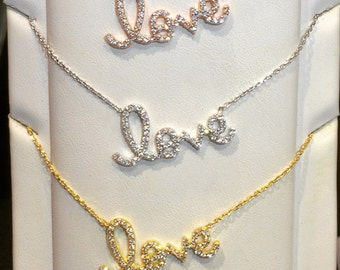 love necklace with cubic zirconia a sweet declaration of love and at a bargain price