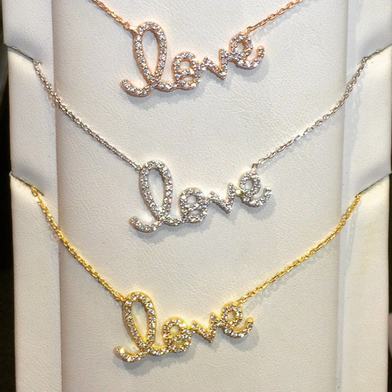 love necklace cubic zirconia ON SALE NOW