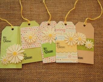 Gift Tags Set of 5 Green Daisies
