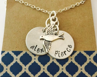 Name Necklace, Mommy Bird Necklace, Family Necklace, Bird Name Necklace ,Children's Name Necklace