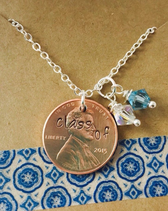 hand stamped graduation penny necklace class of 2016 necklace. Black Bedroom Furniture Sets. Home Design Ideas