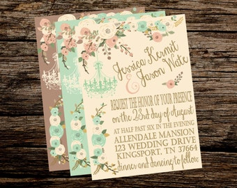 Wedding Flowers Wedding Invitation Or Bridal Shower Invitation