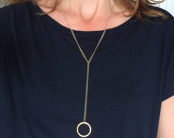Gold plated Y necklace, gold plated necklace with hammered circle pendant