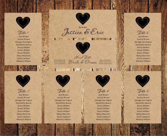 wedding seating chart editable text rustic kraft by bsnpartyart. Black Bedroom Furniture Sets. Home Design Ideas