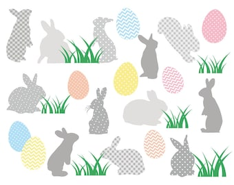 Easter Clipart , Grey Easter Bunny Clipart Clip Art, Easter Egg Clip Art, Bunny Clipart, Spring Clipart, Easter Clip Art. Easter Egg