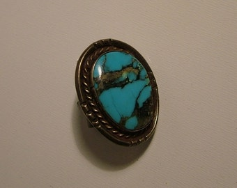 Vintage Navajo Turquoise and Sterling Tie Tack