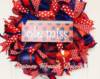 Ole' Miss Football Wreath, Rebels Wreath, College Wreath, Deco Mesh Wreath