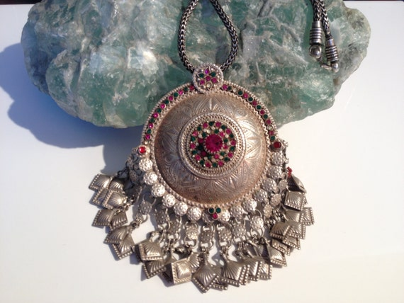 Antique Pendant/Afghan vintage necklace kuche Tribe/old glass stone ...