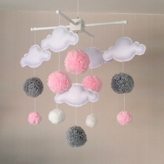 Baby mobile cot mobile clouds and pom poms cloud mobile for Baby mobile pink and grey
