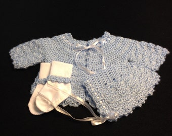 Baby Blue Hand Crochet Newborn Sweater Set (GM125)
