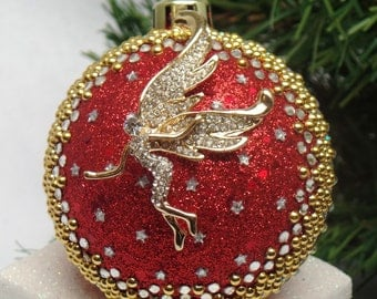 Golden Angel on Red Christmas Ornament