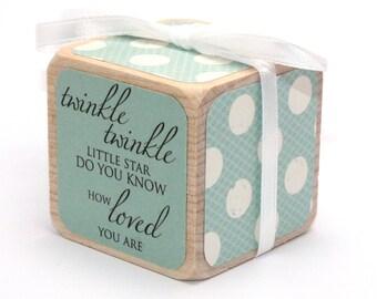 Shabby Chic Nursery Room - Wooden Baby Block - Twinkle Twinkle - Baby Boy - Children's Blocks - 2 Inch