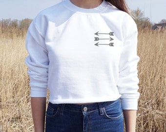 Boho Arrow Cropped Sweater Bohemian Festival Summer Jumper Crop