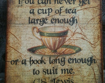 CS Lewis - Tea and a Book - Canvas Transfer - Home and Gift - FREE shipping in US
